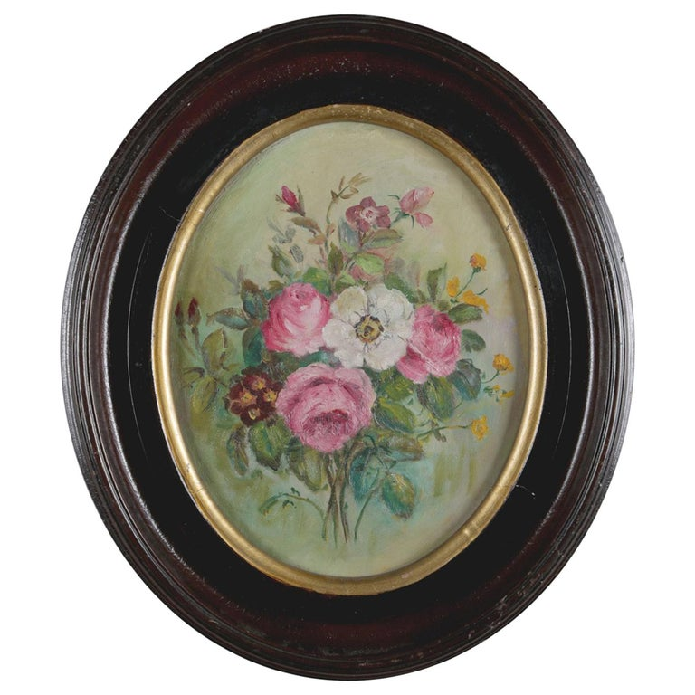 Antique Still Life Oil on Canvas Floral Bouquet in Deep Walnut Frame, circa 1890 For Sale