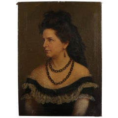 Antique Continental Portrait Painting of a Baroness, Singed JRP 1872