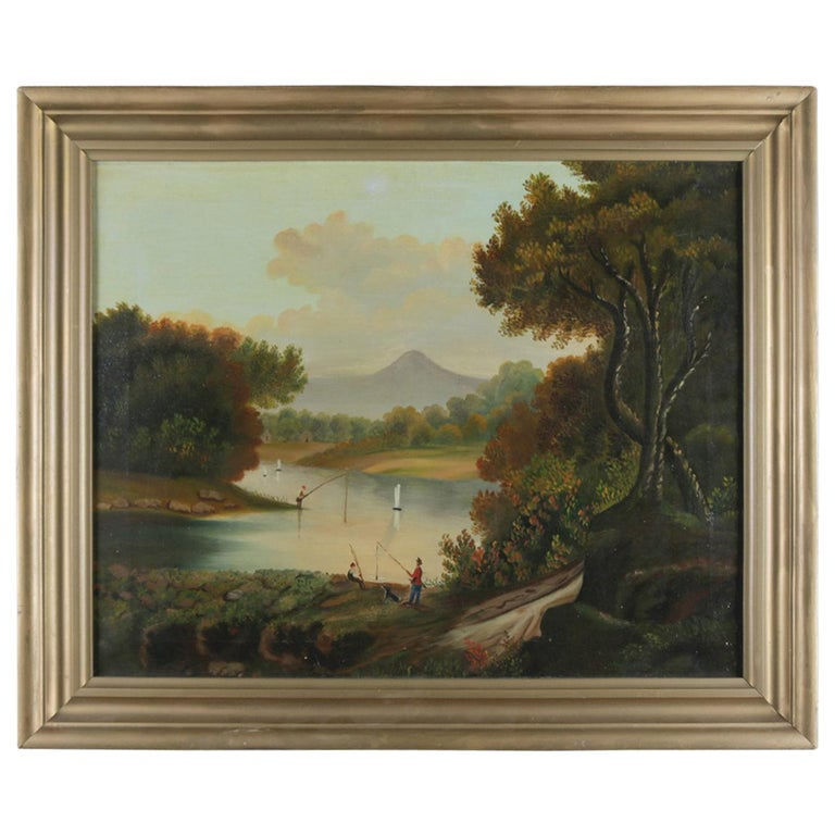 Antique Thomas Chambers School Oil on Canvas Landscape with Figures, circa 1890