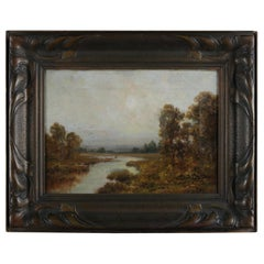 Antique Hudson River School Signed Oil on Canvas Landscape Stream Painting