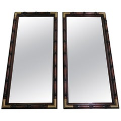 Handsome Pair Faux Bamboo Brass Campaign Mirrors, Mid-Century Modern