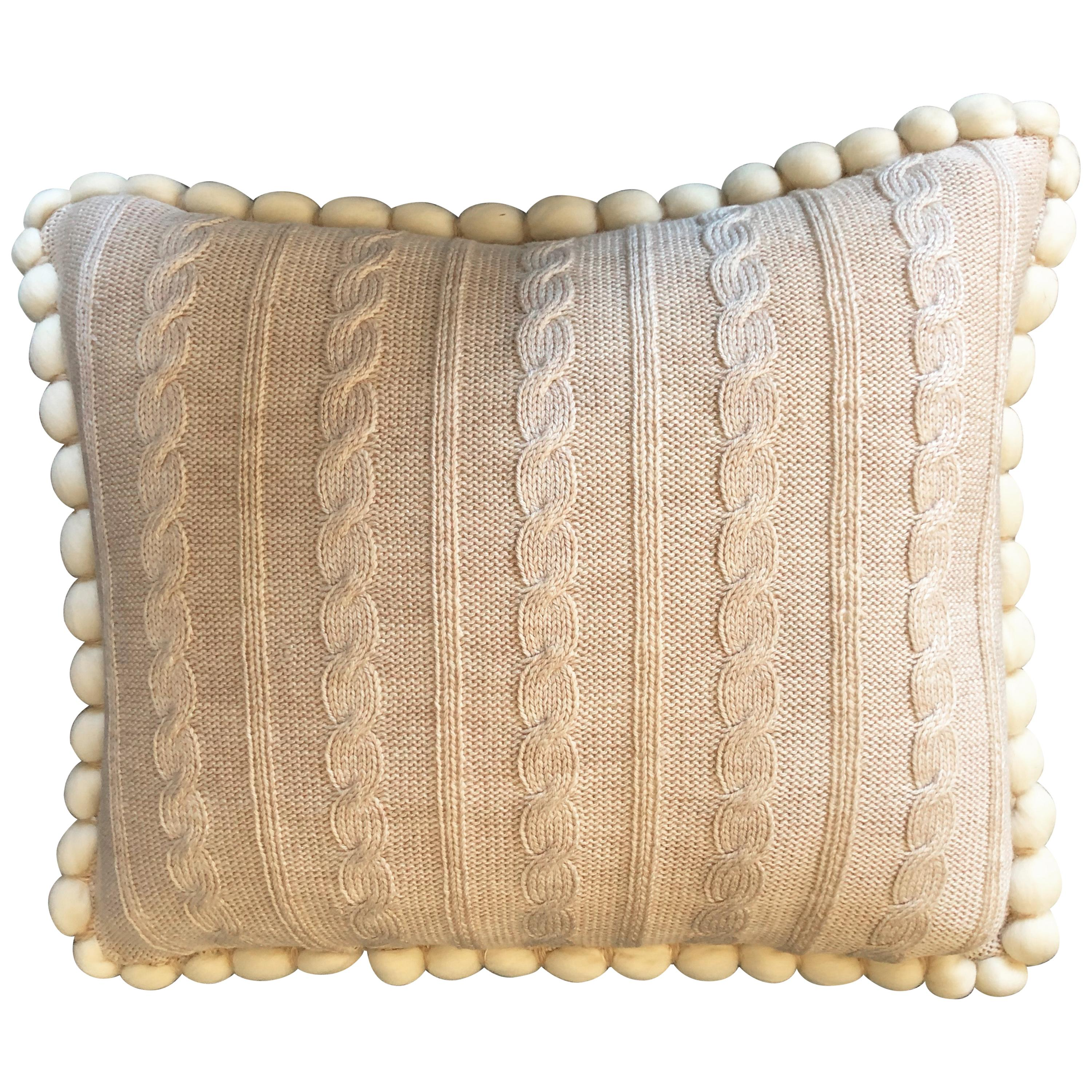 "Italian Merino Wool ""Cableknit"" Pillow by Le Lampade"