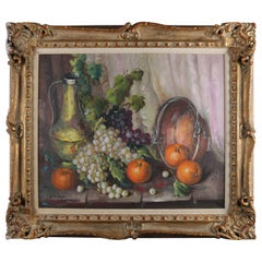 Vintage Spanish Oil on Canvas Still Life of Fruit & Wine by V. Lazaro