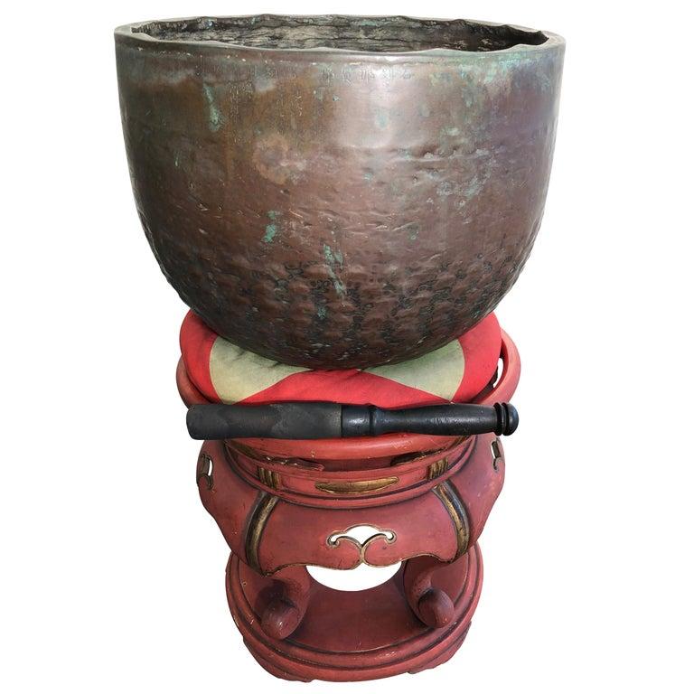 Japan Huge Bronze Antique Meditation Bell- Soothing Reverberating Sound For Sale
