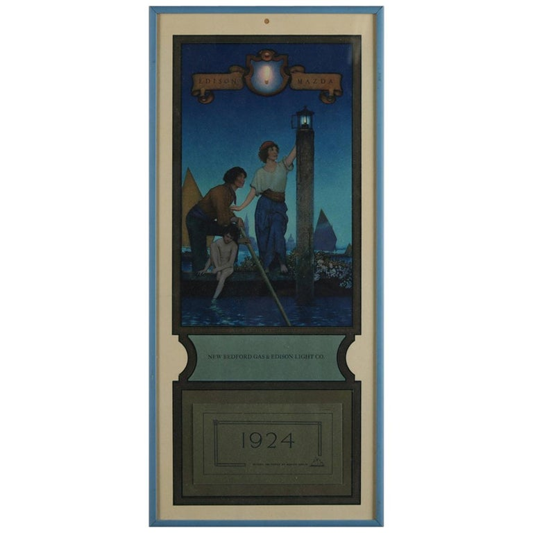 Art Deco Antique 1924 Maxfield Parrish the Venetian Lamplighter Full Calendar For Sale