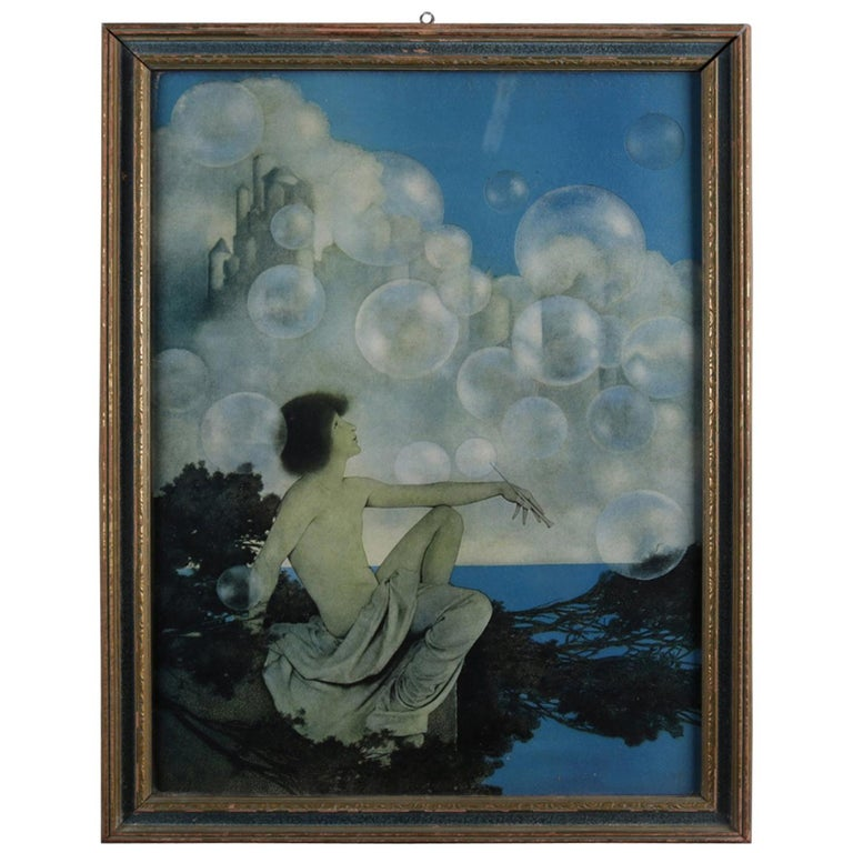 Art Deco Antique Print 'Air Castles' after Original by Maxfield Parrish, Framed For Sale
