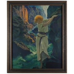"Art Deco Antique Print ""Canyon"" after Original by Maxfield Parrish, Framed"