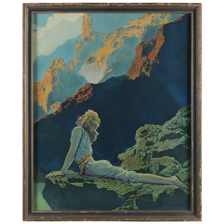 Art Deco Antique Print 'Wild Geese' after Original by Maxfield Parrish, Framed For Sale
