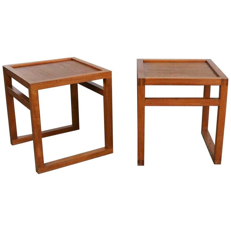 Vintage Scandinavian Modern Pair of Square Open Cube Side Tables in Teak For Sale