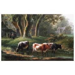 'A Dutch Farmstead' Oil on Panel by William De Klerk, 1800-1868
