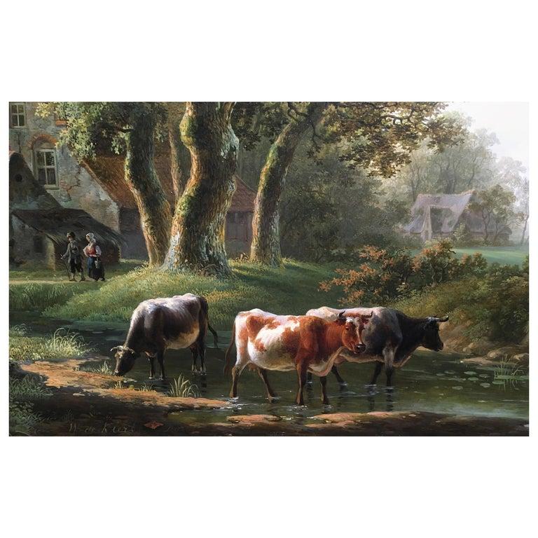 'A Dutch Farmstead' Oil on Panel by William De Klerk, 1800-1868 For Sale