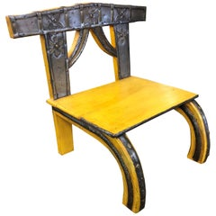 Chinoiserie Yellow Asian Rustic Chair, 19th Century