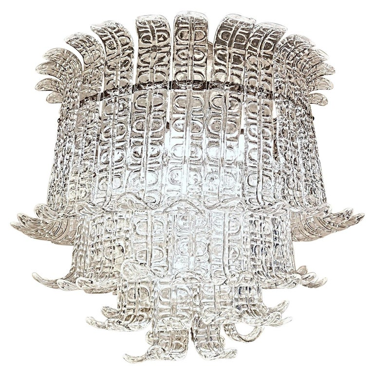 Felci Fern Clear Glass Barovier and Toso Murano Chandelier, 1970s For Sale