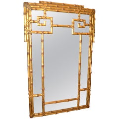 Hollywood Regency Gold Leaf Faux Bamboo Greek Key Wall Mirror