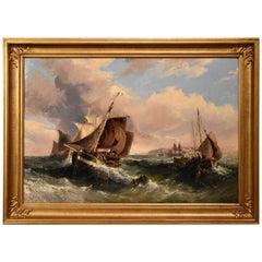 """""""Fishing Boats in Choppy Seas"""" by Samuel Calvert"""