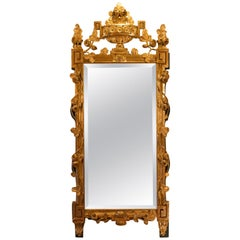 French Louis XVI Period Giltwood and lacquered Front Top Mirror, circa 1780