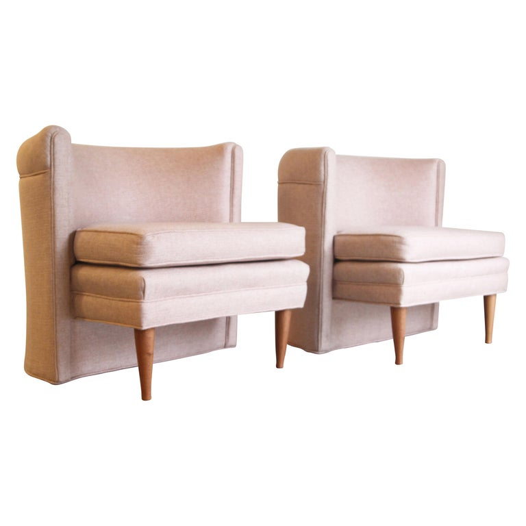 Dramatic Pair of Newly Upholstered Blush Pink Lounge Chairs For Sale