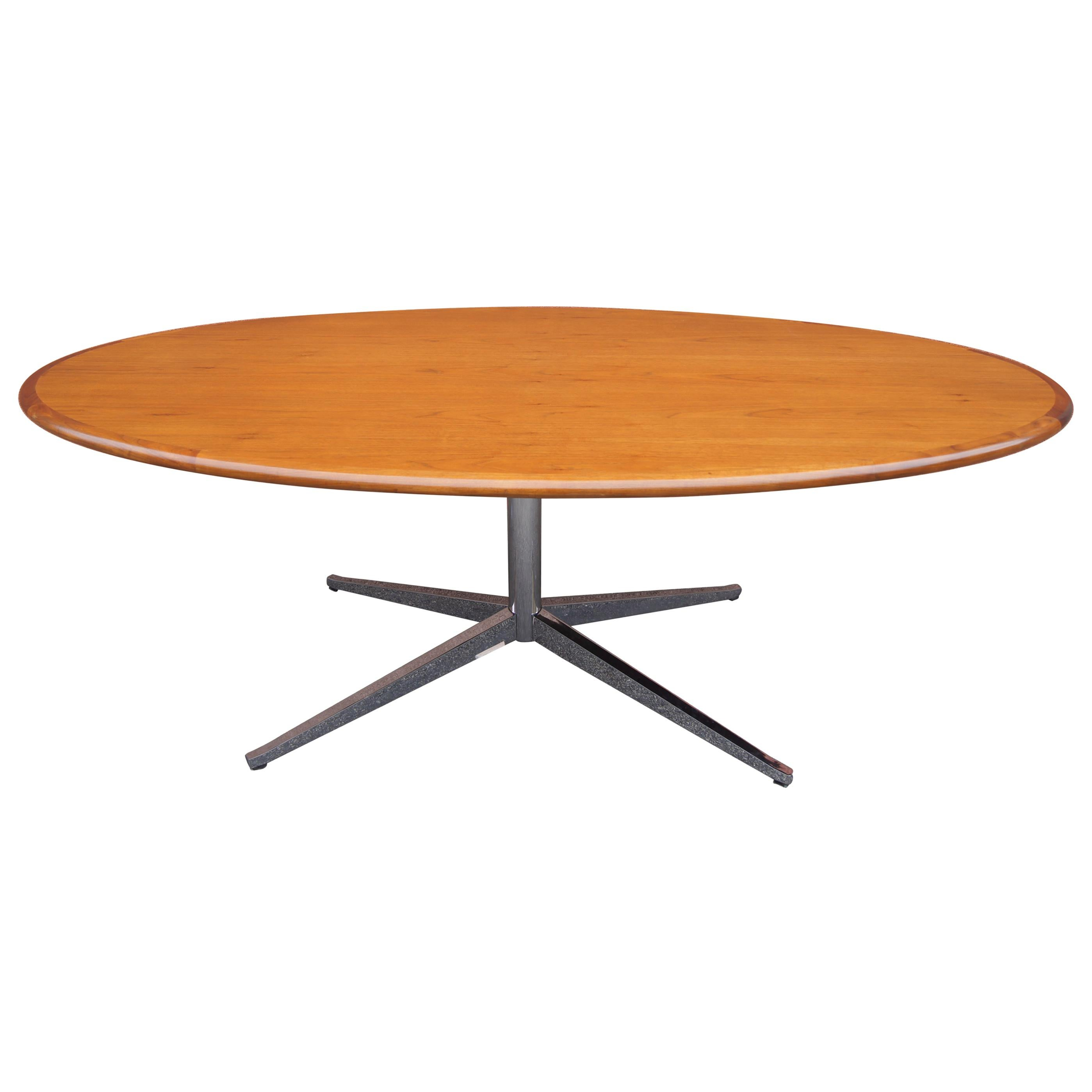 Custom Oval Walnut and Chrome 2480 Table or Desk by Florence Knoll