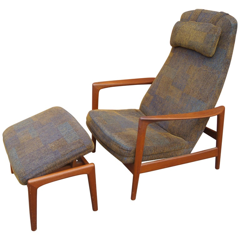 Teak Lounge Chair and Ottoman by Folke Ohlsson for DUX For Sale