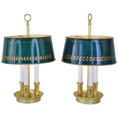 Pair of French Bouillotte Desk Lamps with Tole Shades