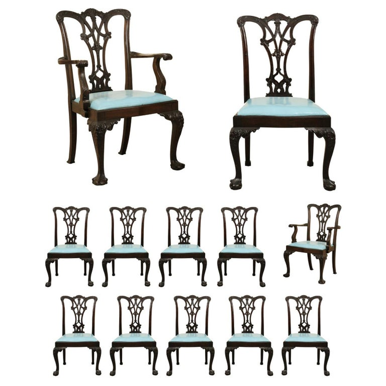 Set of 12 Chippendale Style Mahogany Dining Chairs, England, circa 1890 For Sale