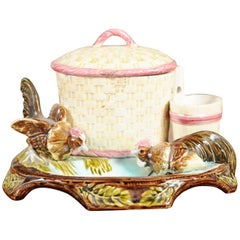French Majolica Tobacco Jar with Roosters Pecking the Ground, circa 1870