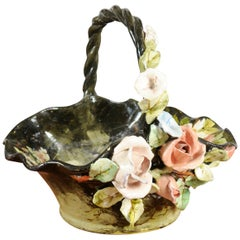 19th Century French Barbotine Jardinière Basket with High Relief Pastel Flowers