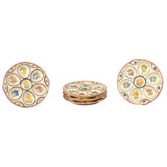 Five French Quimper 19th Century HB Manufacture Oyster Plates with Floral Motifs
