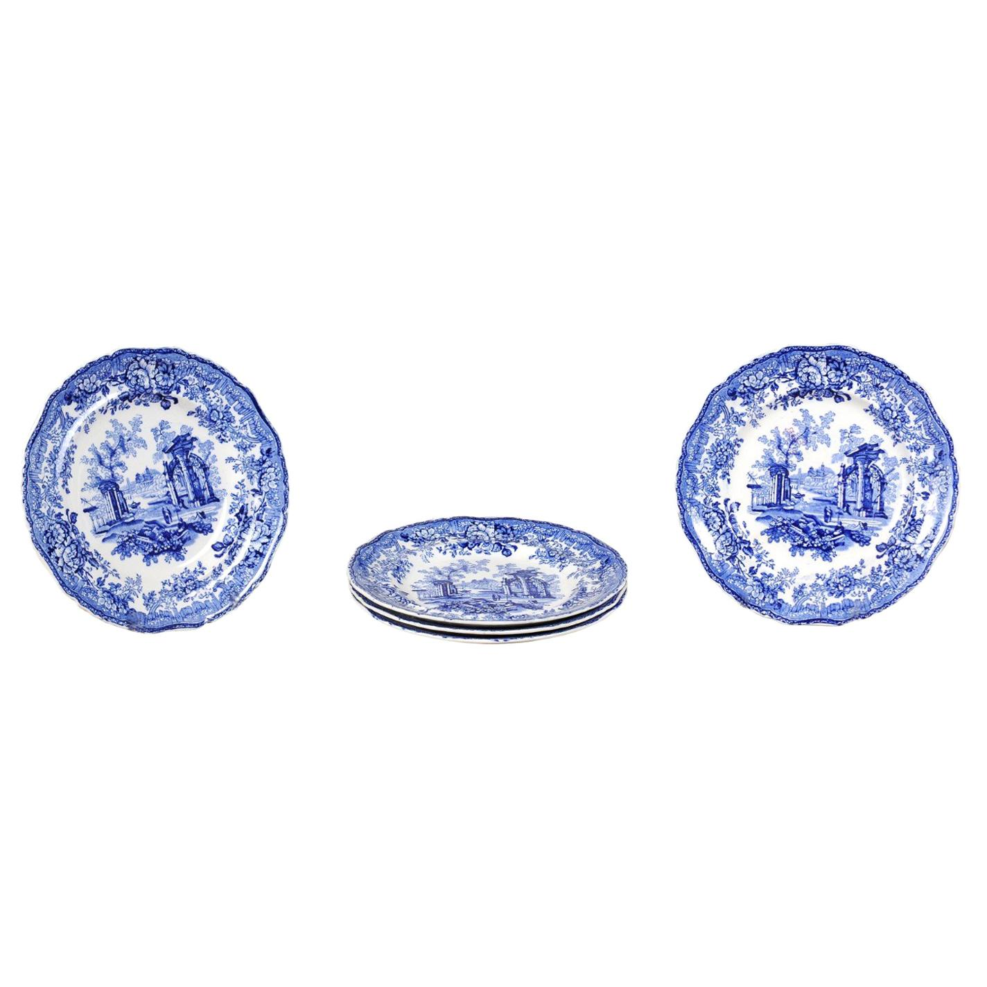 English 19th Century Transfer Blue and White Plates with Ruins and Floral Décor