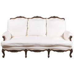 French Louis XV Style 19th Century Carved Wood Three-Seat Sofa with Shell Motifs