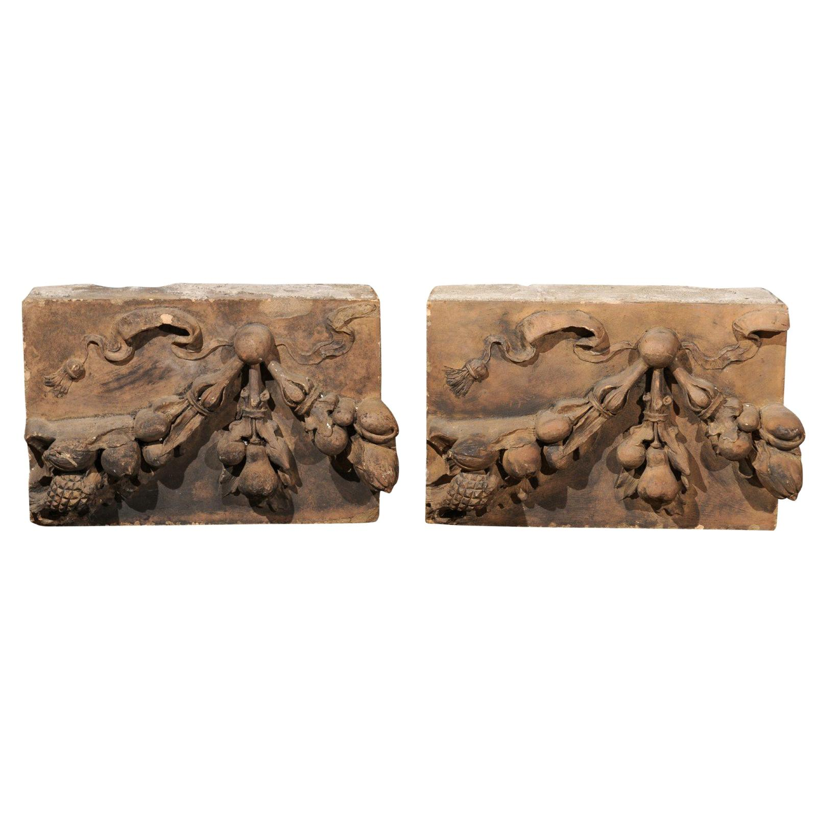 Pair of French 1860s Napoleon III Terracotta Architectural Fragments with Fruits