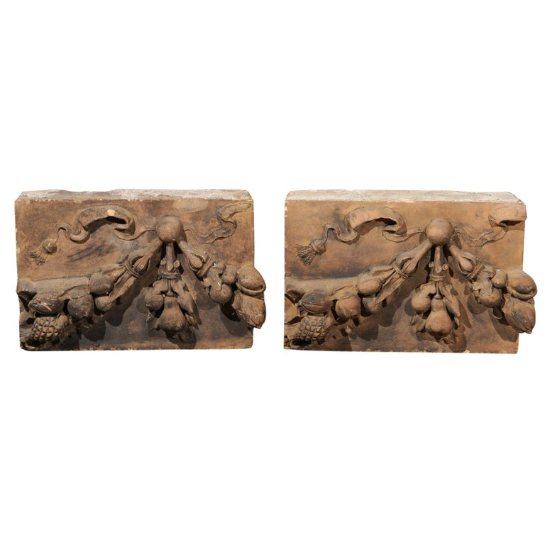 Pair of French 1860s Napoleon III Terracotta Architectural Fragments with Fruits For Sale