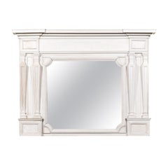 English 1840s Painted Wood Over Mantel Mirror with Classical Tapering Pilasters