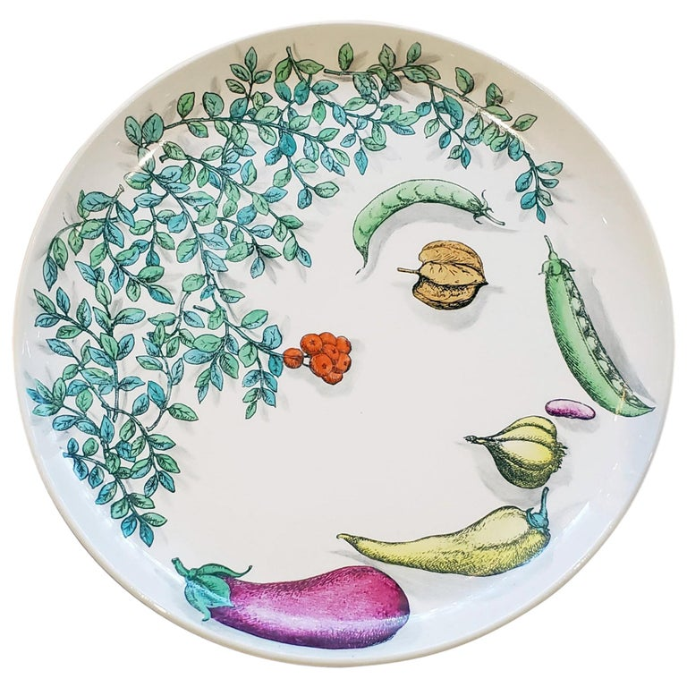 Piero Fornasetti Pottery Vegetalia Plate, #9 Rutino, 1955 For Sale