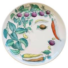 Piero Fornasetti Pottery Vegetalia Plate, #10 Morino, 1955