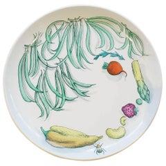 Piero Fornasetti Pottery Vegetalia Plate, #11 Cornettino, 1955
