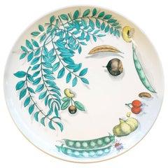 Piero Fornasetti Pottery Vegetalia Plate, #12 Coccinello, 1955
