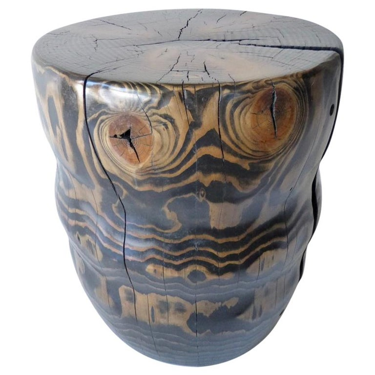 Solid Black Pine Side Table by Contemporary American Artist Daniel Pollock For Sale