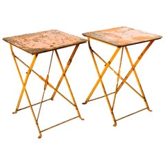 Pair of French Antique Industrial Folding Garden Tables