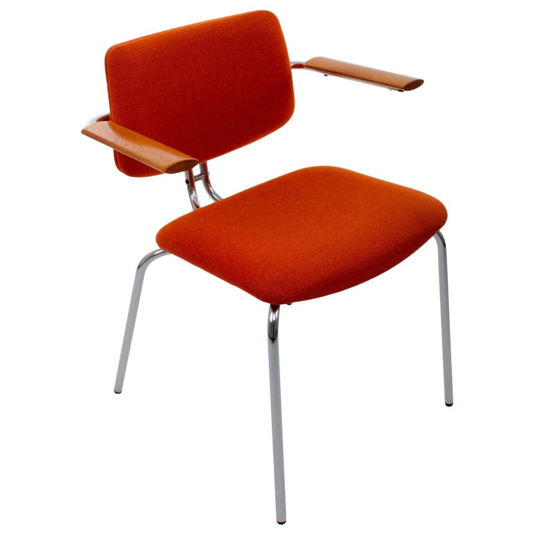 Chair by Duba, 1980s Vintage Dining Chair with Original Orange Wool Upholstery For Sale