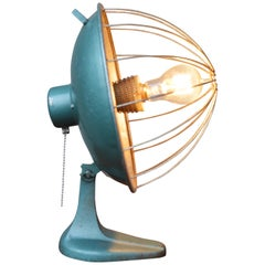 Post Industrial Turquoise Metal Heater Converted to a Table Lamp w/ Edison Bulb