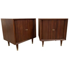 Pair of Mid-Century Modern Nightstands with Tambour Doors