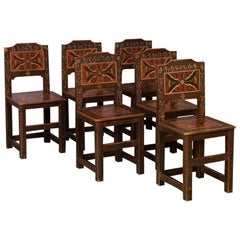 Set of 6 Antique 19th Century Swedish Folk Art Painted Chairs