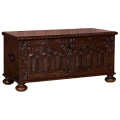 Carved 19th Century Antique Swedish Pine Trunk