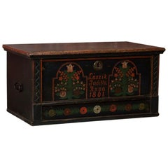 Antique Folk Art Painted Trunk from Hungary