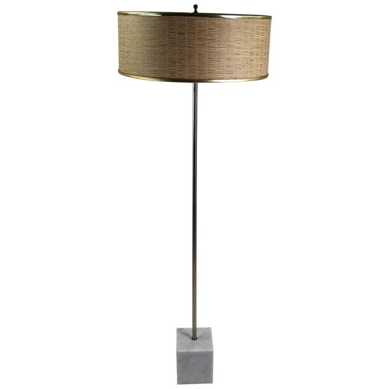 Marble Base Floor Lamp by Laurel For Sale