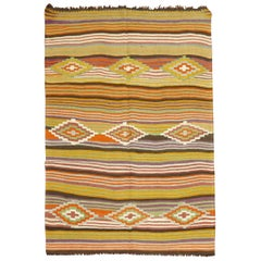 Vintage Turkish Striped Kilim
