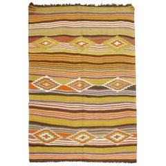 Vintage Turkish Striped Kilim