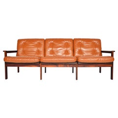 Illum Wikkelsø Rosewood and Leather Capella Three Sofa