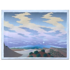 Vintage 1980s Modernist Desert Landscape Silkscreen by Arizona Artist Doug West